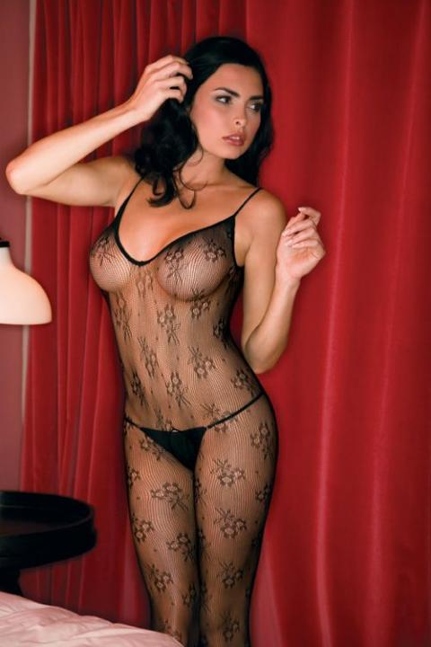Bodystocking Negru Floral Lace