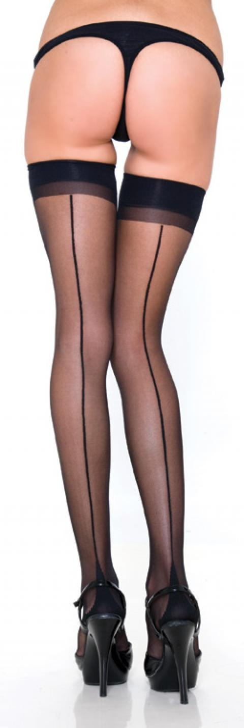 Ciorapi negri Thigh High w. Backseam and Cuban Heel